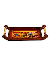 Brown Handled Wooden Tray With Traditional Print - By
