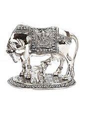 Silver Metallic Finish Cow And Calf Showpiece - By