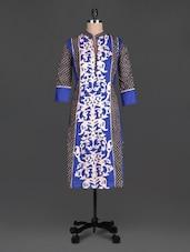Blue Printed Cotton Quarter Sleeves Kurta - SHREE