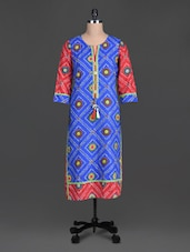 Blue Beads Printed Cotton Round Neck Kurta - By