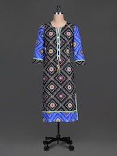 Black Beads Printed Cotton Round Neck Kurta - By