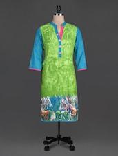 Green Beads Printed Cotton Band Collar Kurta - SHREE