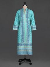 Blue Block Printed Cotton Kurta - SHREE