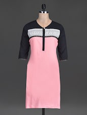 Pink Plain And Printed Cotton Kurta - By