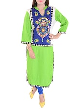 green cotton straight kurta -  online shopping for kurtas