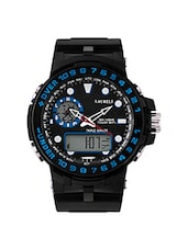 black leatherette sports watch -  online shopping for Sports Watches