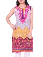 Multicolour Embroidered Cotton Round Neck Kurti - Sequins