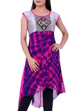 Multicolour Embroidered  Round Neck Kurti - Sequins - 1182034