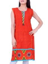 Red Printed Cotton Round Neck Kurti - Sequins