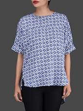 Printed Blue Hi-Lo Top With Back Slit - By