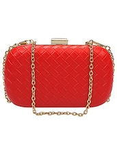 Solid Red Leatherette Textured Clutch - By