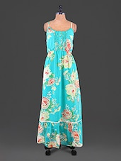Blue Printed Patch Worked Polyester Maxi Dress - Lemon Chillo