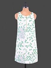 White Leaf Printed Polyester Dress - Lemon Chillo