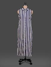 Stripe Print Sleeveless Shirt Color Maxi Dress - London Off