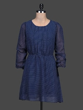 Long Sleeve Round Neck Polka Dot Print Dress - LOFF