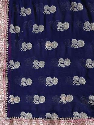 blue georgette gota patti saree with blouse - 11834410 - Standard Image - 4
