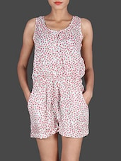 Multicoloured Printed Sleeveless Rayon Romper - By