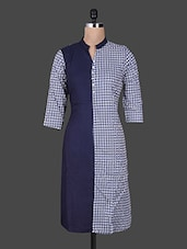 Navy Blue And White Printed Rayon Kurta - By