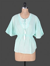 Pastel Blue Embroidered Cotton Top - GOODWILL