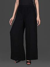 Solid Black Viscose Loose Pants - GOODWILL