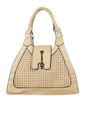 Long Twist Clasp Buckle Leatherette Handbag - SATCHEL Bags