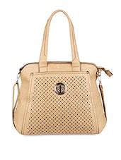 Diamond Pattern Cut Work Leatherette Handbag - SATCHEL Bags