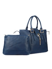 Two String Buckle Leatherette Handbag - SATCHEL Bags