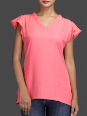 V Neck Flare Short Sleeve Solid Pink Color Top - KNOT-ME
