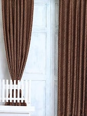 Brown Polka Dots Printed Door Curtain Set - Cortina