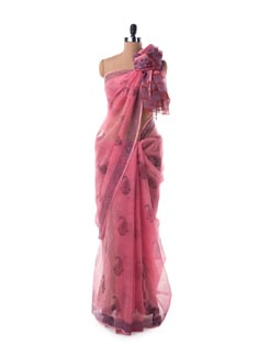 Pink And Blue Sheer Kota Hand Block Printed Saree - Nanni Creations 11860