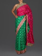 Green And Pink Embroidered Georgette Saree - Roop Sha