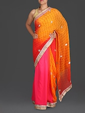 Pink And Orange Georgette Saree - By