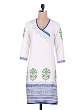 White Polka Dots Sequin Worked Cotton Kurti - By