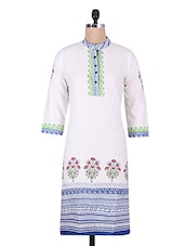 White Polka Dots Printed Cotton Kurti - By