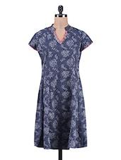 Navy Blue Cotton Printed Kurti - Sohniye