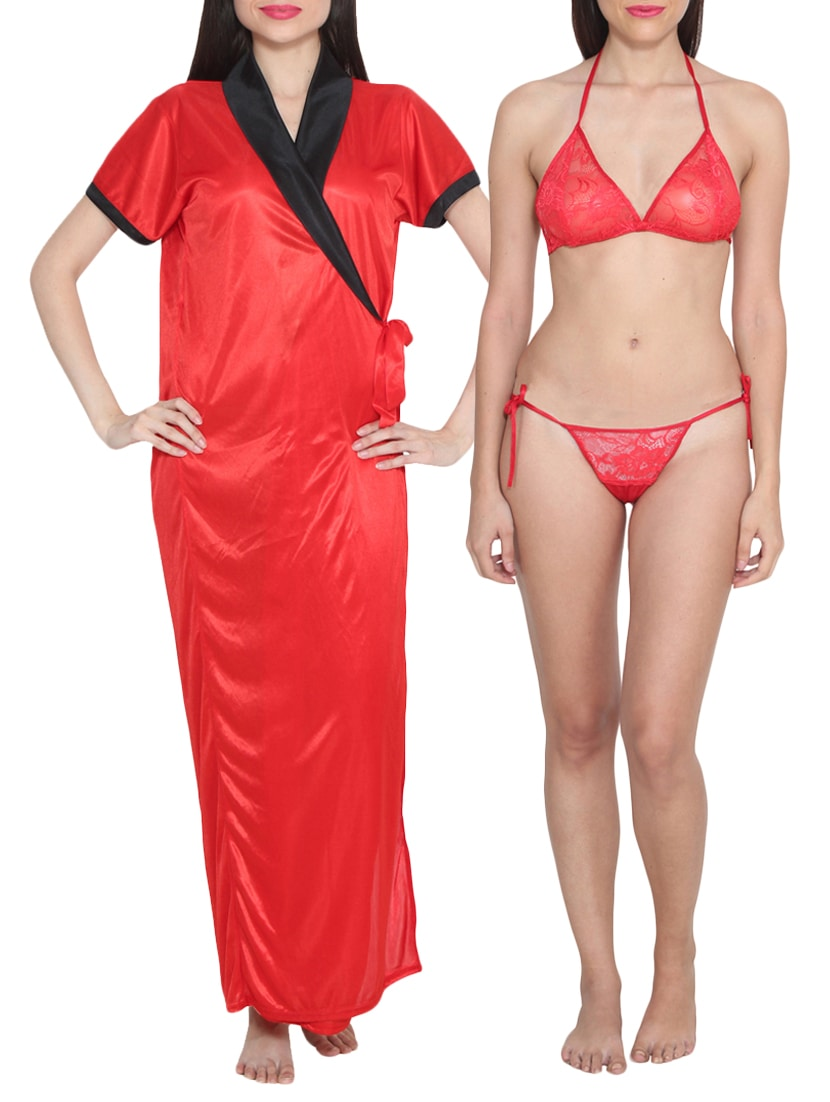 e6a6b96f7 Buy Red Satin Bras And Panty Set With A Night Gown for Women from Rock  Hudson for ₹849 at 50% off
