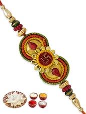 Multicolor Mauli Beaded Rakhi And Gift Set - By