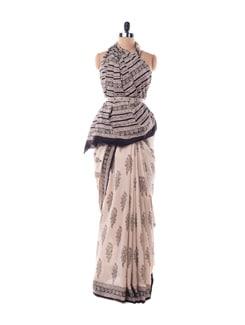Off-white And Black Printed Cotton Saree - Nanni Creations