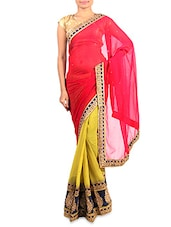 Red And Lime Embroidered Georgette Saree - By
