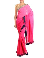 Pink Georgette Saree With Embroidered Border - By