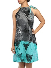 Graphic Geometric Print Halter Neck Georgette Dress - By