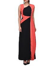 Black Georgette  Coral Long Maxi Dress - By
