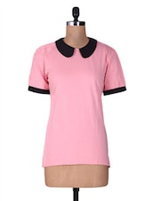 Pink And Black Cotton Half Sleeve Top - By