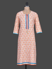 Orange Printed Cotton Round Neck Kurta - By