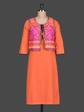 Orange Printed Cotton Front Yoke Kurta - SHREE