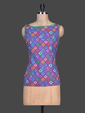 Multicolour Printed Cotton Sleeveless Top - By - 1189256