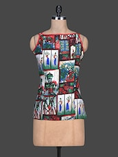 Multicolour Printed Cotton Sleeveless Top - By