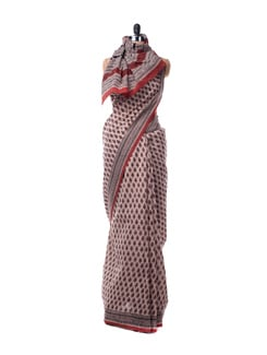 Red And Black Printed Cotton Saree - Nanni Creations
