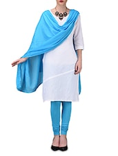 Solid Blue Cotton Leggings And Dupatta Set - By