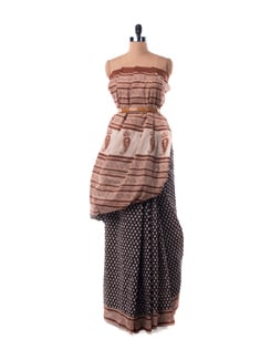 Rust Black Printed Cotton Saree - Nanni Creations